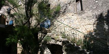jardin - le viel escalier de pierre usé par les sabots